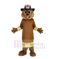 Burny Beaver Mascot Costume with Hat Animal