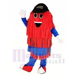Blue and Red Car Wash Cleaning Brush Mascot Costume with Black Hat