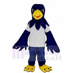 Blue Hawk Mascot Costume in White T-shirt