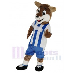 Football Fox Mascot Costume in Blue and White Jersey