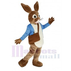 Brown Peter Rabbit Mascot Costume in Blue Coat