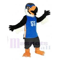 Black Eagle Mascot Costume in Blue Jersey