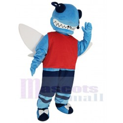 Blue Hornet Mascot Costume in Dark Blue Shorts Animal