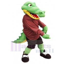Alligator Mascot Costume in Maroon Shirt Animal