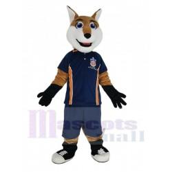 Smiling Fox in Blue Sport Shirt Mascot Costume