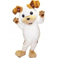 White and Brown Jack Russell Terrier Dog Mascot Costume