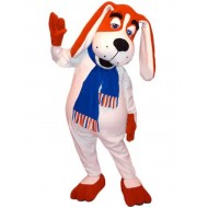 Long-Eared Red and White Dog Mascot Costume with Blue Scarf