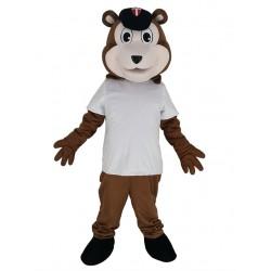 Baseball Brown Bear in White T-shirt Mascot Costume