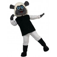 White and Black Poodle Dog Mascot Costume with Warm Headgear Animal
