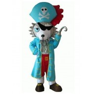 Gray and White Wolf Dog Mascot Costume with Blue Pirate Clothe Animal