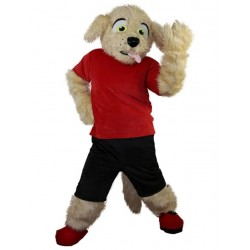 Amusing Brown Fur Poodle Dog Mascot Costume with Red T-shirt Animal