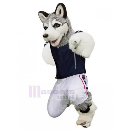 Furry Grey Husky Dog Mascot Costume in Jersey Animal