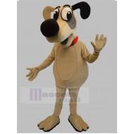 Beige Cartoon Dog Mascot Costume with Big Black Nose Animal