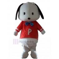 White Puppy Dog Mascot Costume with Red Shirt Animal