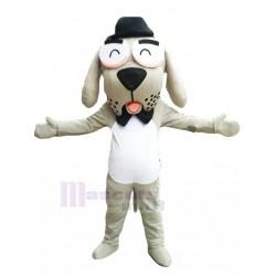 Amiable Gentleman Dog Mascot Costume with Black Bow Tie Animal