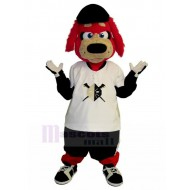 Frank Furry Red Dog Mascot Costume Animal in Oversized Shirt Outfit