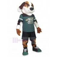 Frowning Sports Dog Mascot Costume Animal in Sports Suit