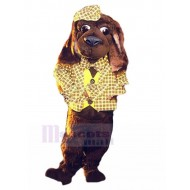 Brown Dog Mascot Costume Animal in Yellow Plaid suit