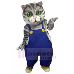 American Shorthair Cat Mascot Costume Animal in Blue Overalls