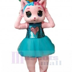Pink Cat Mascot Costume Animal in Blue Dress