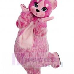 Hairy Dark Pink Cat Mascot Costume Animal