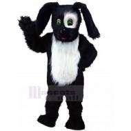 Black and White Long Fur Shepherd Sheepdog Mascot Costume Animal