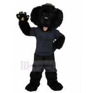 Black Poodle Dog Mascot Costume in Navy Uniform Animal