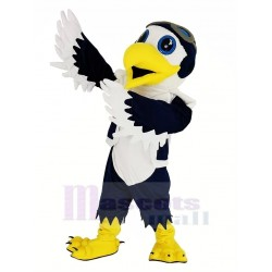 Blue and White Eagle Ace Pilot Bird Mascot Costume with Vest Animal