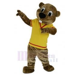 Brown Beaver Mascot Costume in Yellow Shirt Animal