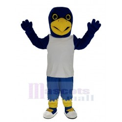 Blue Eagle in White Vest Mascot Costume Animal
