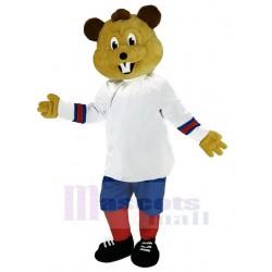 Sport Beaver Mascot Costume in White Clothes Animal