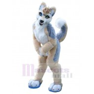 Brown and Gray Husky Dog Mascot Costume Animal