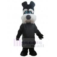 Furry Black and White Dog Mascot Costume Animal