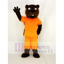 Sport Power Beaver Mascot Costume in Orange Clothes