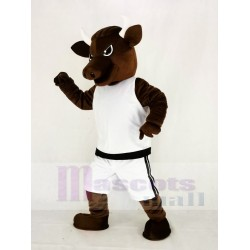 Brown Sport Power Bull Mascot Costume with White Clothes