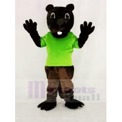 Funny Brown Barney Beaver Mascot Costume in Green T-shirt