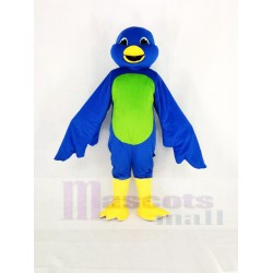 Blue Bird Mascot Costume with Green Belly