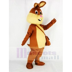 Brown Easter Bunny Rabbit Mascot Costume with Pink Nose