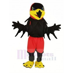 Black Night Hawk Mascot Costume with Red Pants