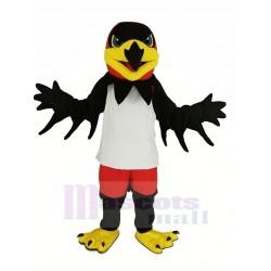 Black Night Hawk Mascot Costume in White Vest