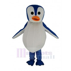 Blue and White Penguin Mascot Costume with Orange Mouth
