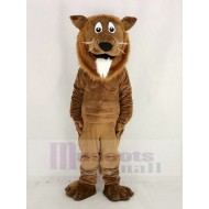 Brown Lion Mascot Costume with White Beard Animal