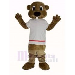 Alex the Beaver Mascot Costume Animal in White T-shirt