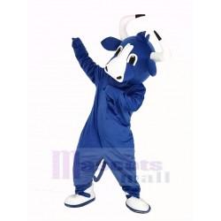 Happy Blue Bull Mascot Costume Animal