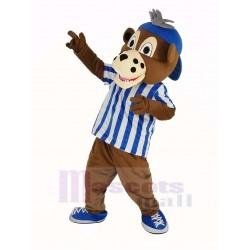 Baseball Cub Bear Mascot Costume in Striped T-shirt