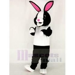 Black and White Bunny Rabbit Mascot Costume with Pink Ears