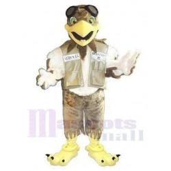 Brown and White Pilot Eagle Mascot Costume Animal