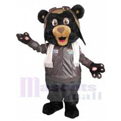 Black Pilot Bear Mascot Costume in Brown Jacket Animal