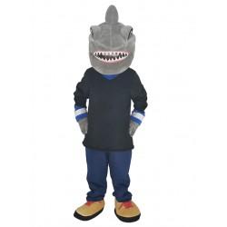 Grey Shark in Black Shirt Mascot Costume