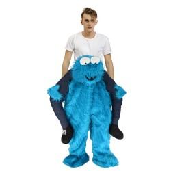 Piggy Back Carry Me Costume Blue Monster Elmo Ride on Halloween Christmas for Adult